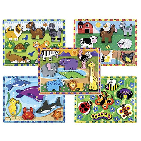 Melissa Doug Chunky Puzzle Bundle Set #1 (Set of 5)