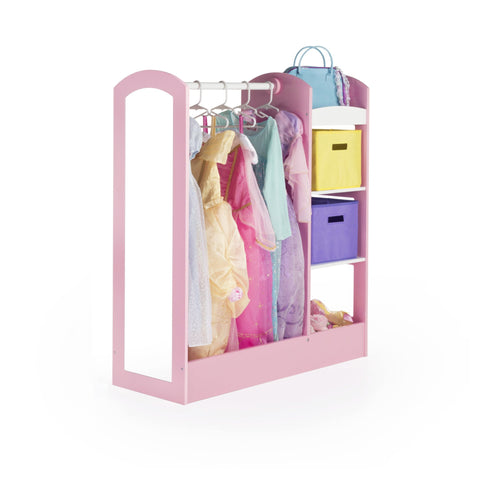 Image of Guidecraft See and Store Dress-up Center  Pastel: Toddlers' Clothing Rack Wardrobe with Mirror & Shelves, Cubby Armoire with Bottom Tray - Kids Bedroom Furniture.