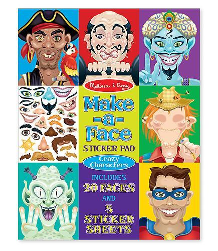 Melissa Doug Make-a-Face Crazy Characters Sticker Pad