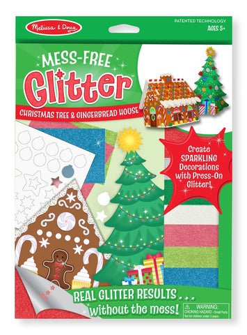 Image of Melissa Doug Mess Free Glitter - Christmas Tree & Gingerbread House 8404