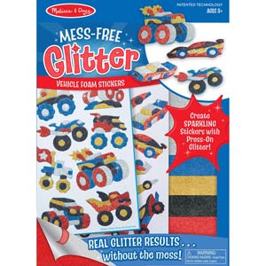 Image of Melissa & Doug Mess-Free Glitter Activity Kit - Vehicle Foam Stickers