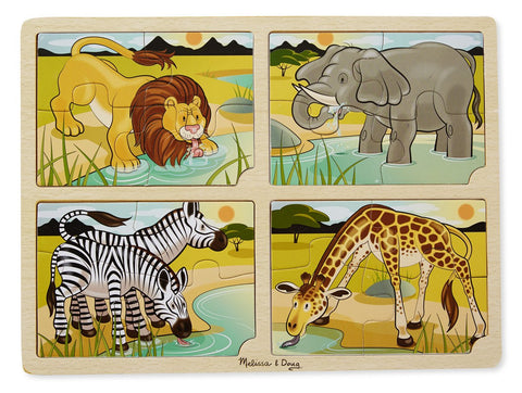 Image of Melissa Doug 4-in-1 Safari Jigsaw Puzzle 9366