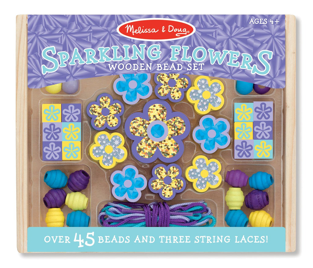 Melissa Doug Sparkling Flowers Wooden Bead Set 9494