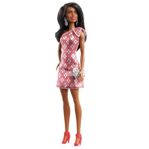 Image of Barbie 2020 Holiday Doll - Shimmery Red & White Dress - Brunette Hair