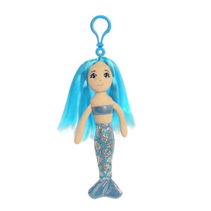 "7"" Sapphire Clip-On Sea Sparkles Mermaid Aurora Plush"