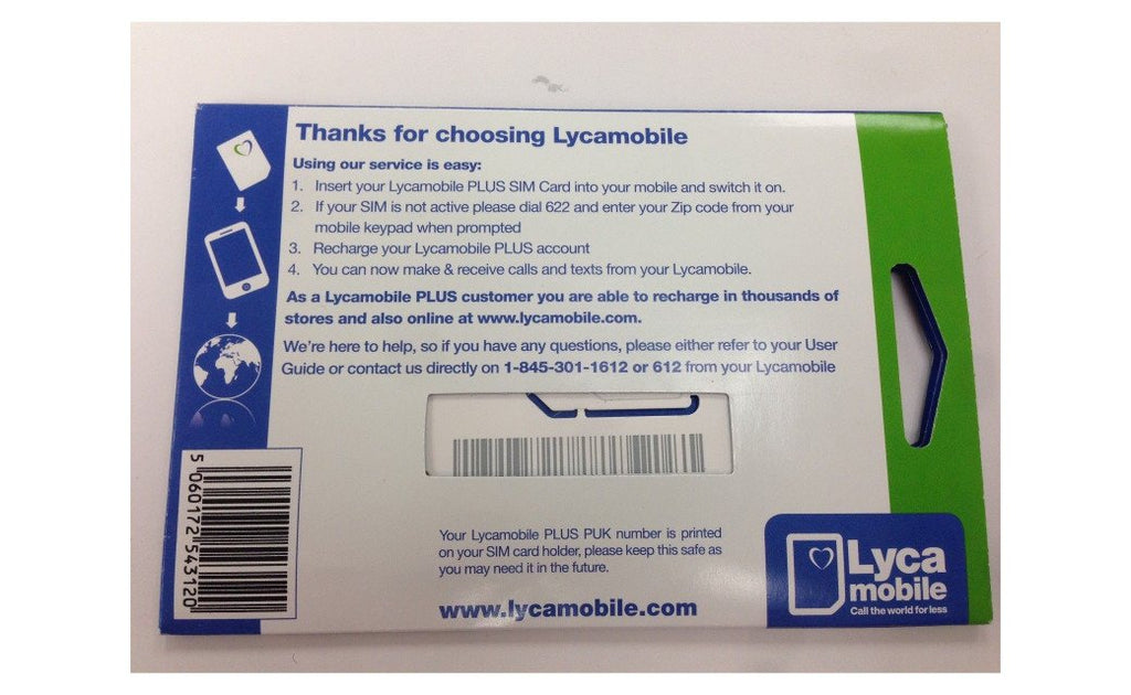 Lycamobile Triple Cut 4G LTE All-in-one Proloaded $23/plan Sim Card w/ Free Stylus Pen