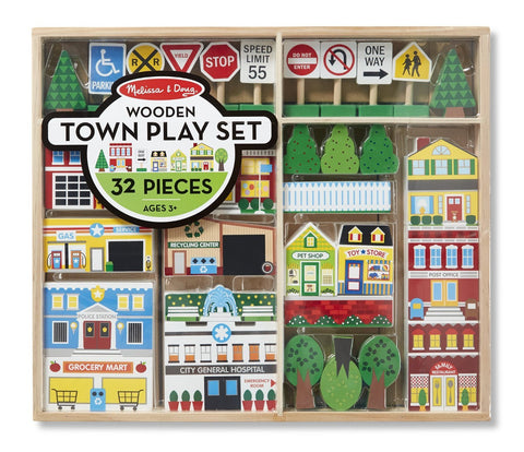 Image of Melissa Doug Wooden Town Play Set 4796