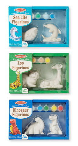 Melissa & Doug Decorate-Your-Own Figurines Craft Kit Sets: Dolphin, Whale, Tiger, Giraffe, and Dinosaurs