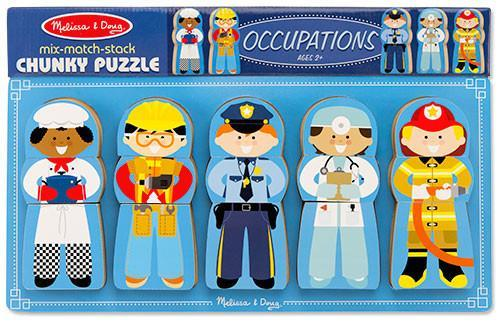 Melissa Doug Mix-Match-Stack Chunky Puzzle-Occupations