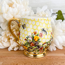 Load image into Gallery viewer, Tri-Color Floral Honeybee Mug