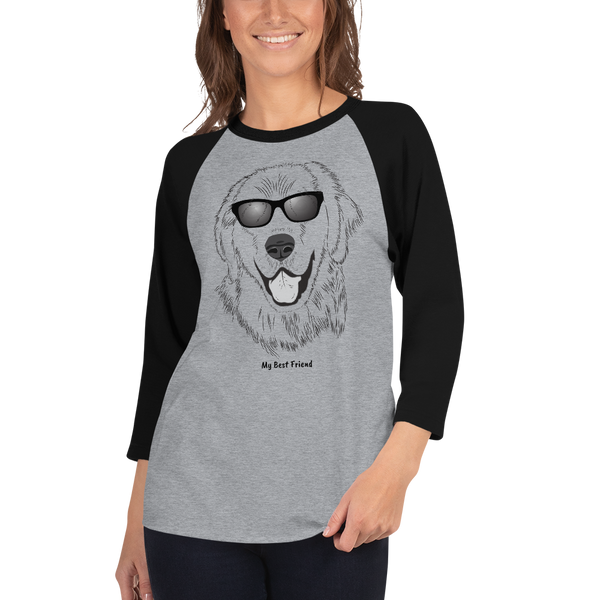 Golden Retriever - Unisex Fine Jersey Raglan Tee - 3/4 Sleeves