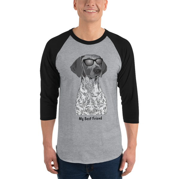 German Shorthair Pointer - Unisex Fine Jersey Raglan Tee - 3/4 Sleeves