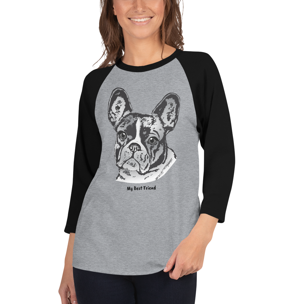 French Bulldog - Unisex Fine Jersey Raglan Tee - 3/4 Sleeves