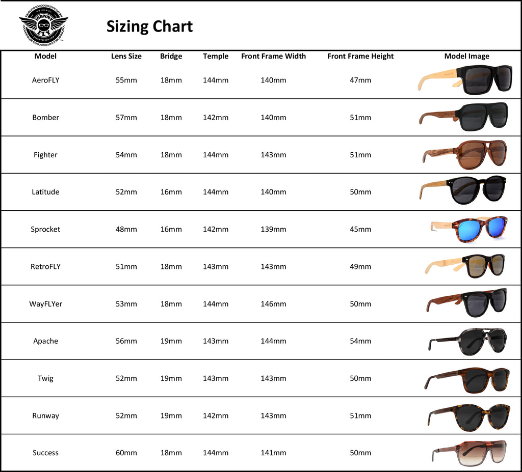 Johnny Fly Sunglasses Sizing Chart