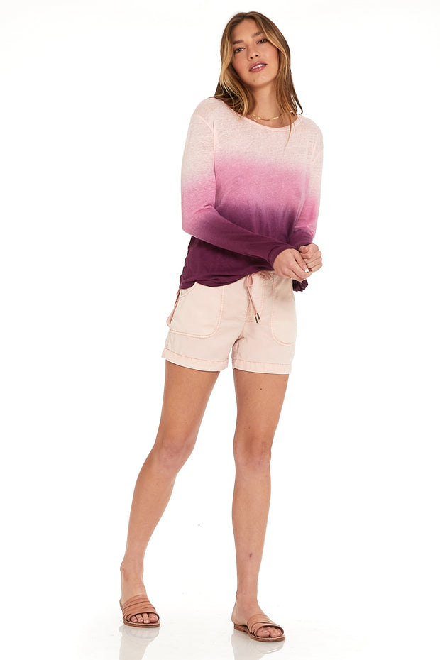 Long Sleeve Twister Tee In Berry Ombre