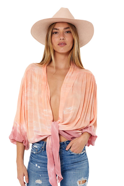Mila Top In Melon Beliz Wash