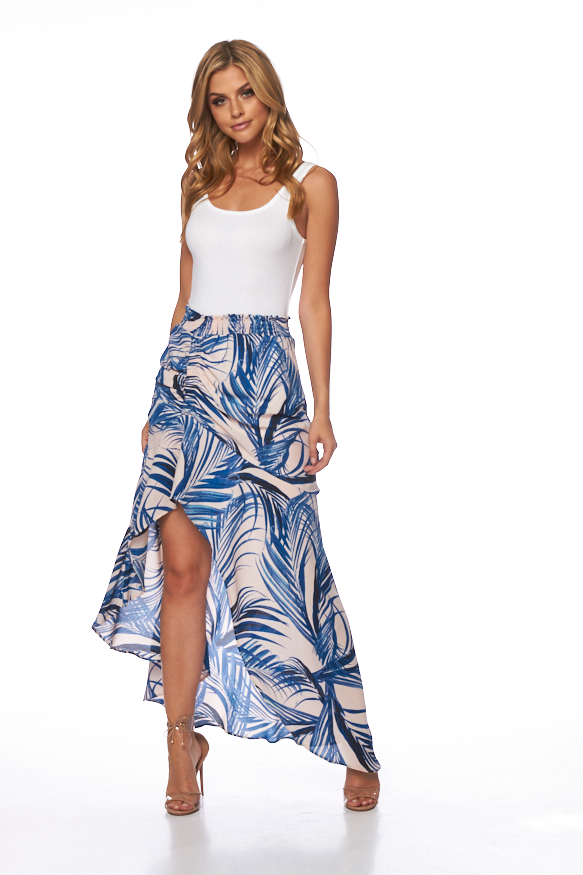 Lilo Skirt In Blue Palm Print