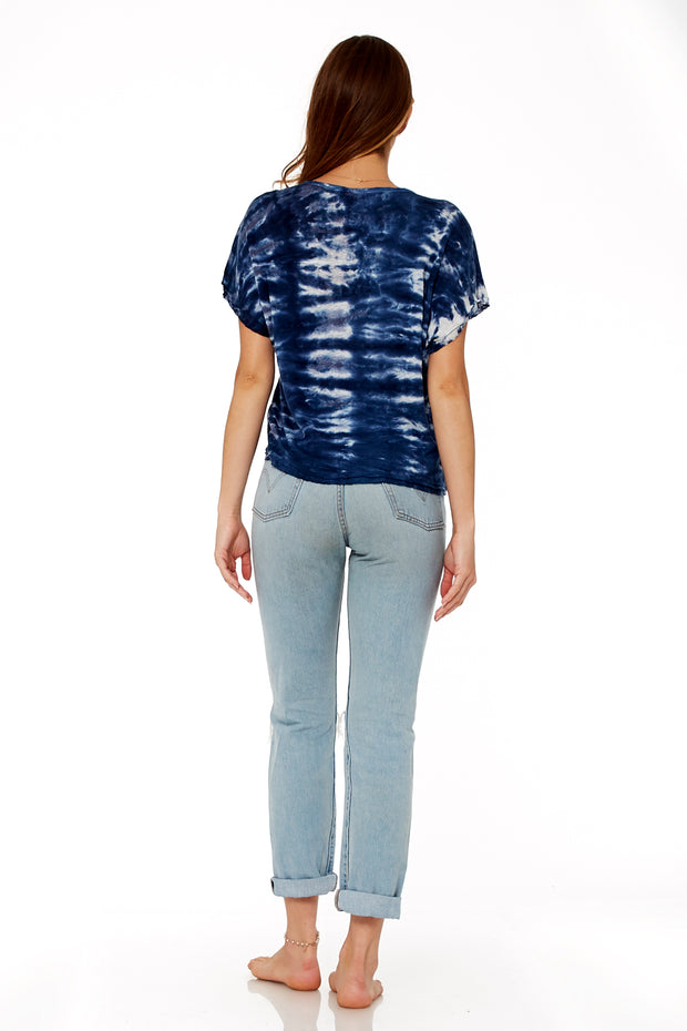 Cleo Tee In Navy Ikat Wash