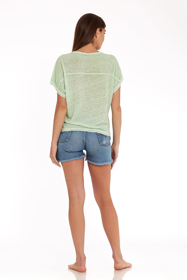 Cleo Tee In Spring Sage Oil Wash