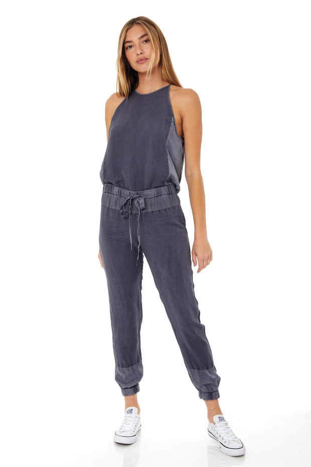 Diego Jumpsuit In Black Sand Pigment