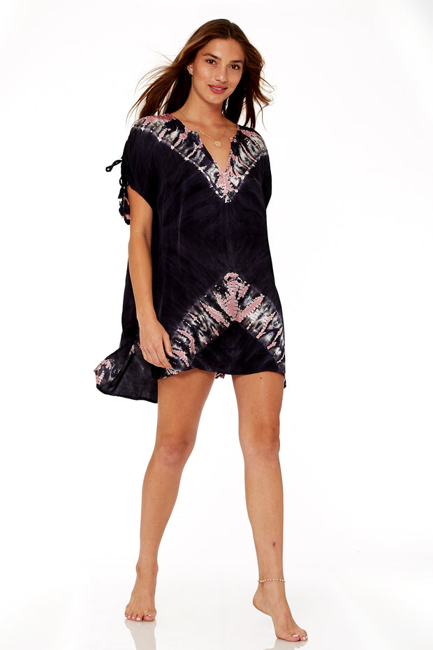 Hunny Tunic In Black Sand Chevron Wash
