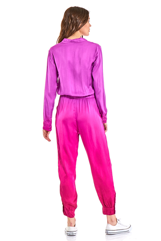 Stacey Jumpsuit in Magenta Ombre Wash