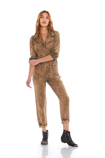 Brooklyn Jumpsuit in Seaweed Potassium Wash - SAMPLE FINAL SALE