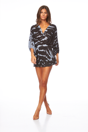 Kyra Romper In Coal Zebra Wash