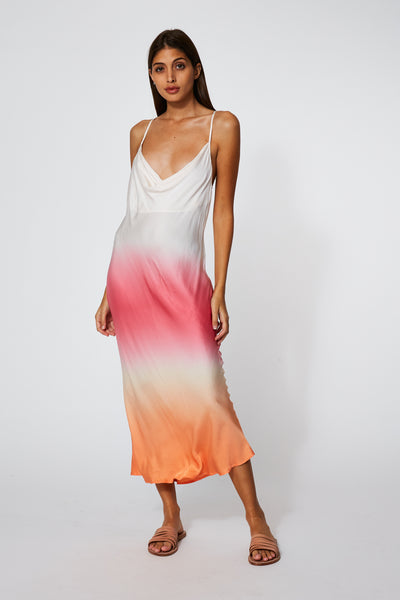 Sweetie Slip Dress In Melon Ombre