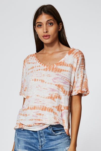 V Neck Twister T in Peach Bamboo Wash