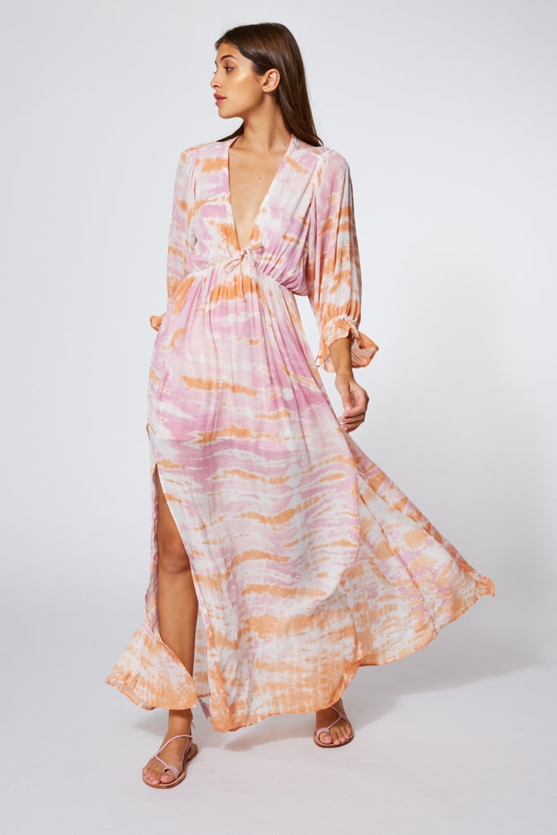 Meadow Dress In Peach Bamboo