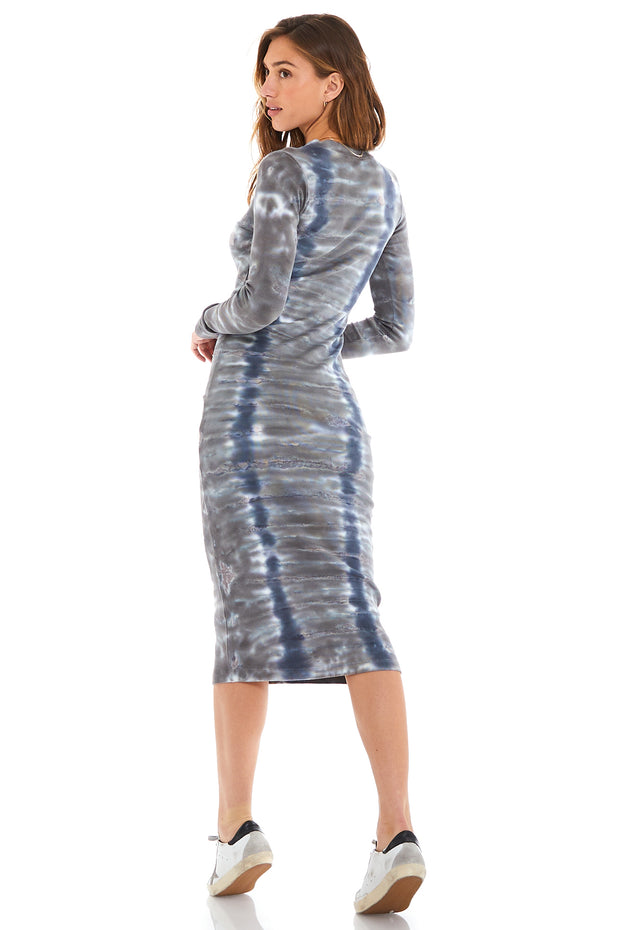 Dax Midi Dress in Blue Haze Camo Wash