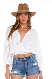 Lacey Wrap Top In White