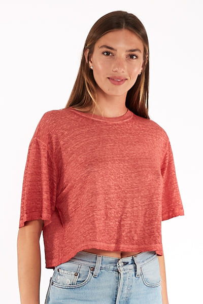 Karla Crop Tee in Aged Copper Oil Wash