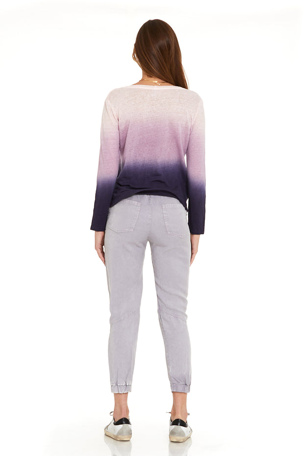 Long Sleeve Twister Tee In Eggplant Ombre