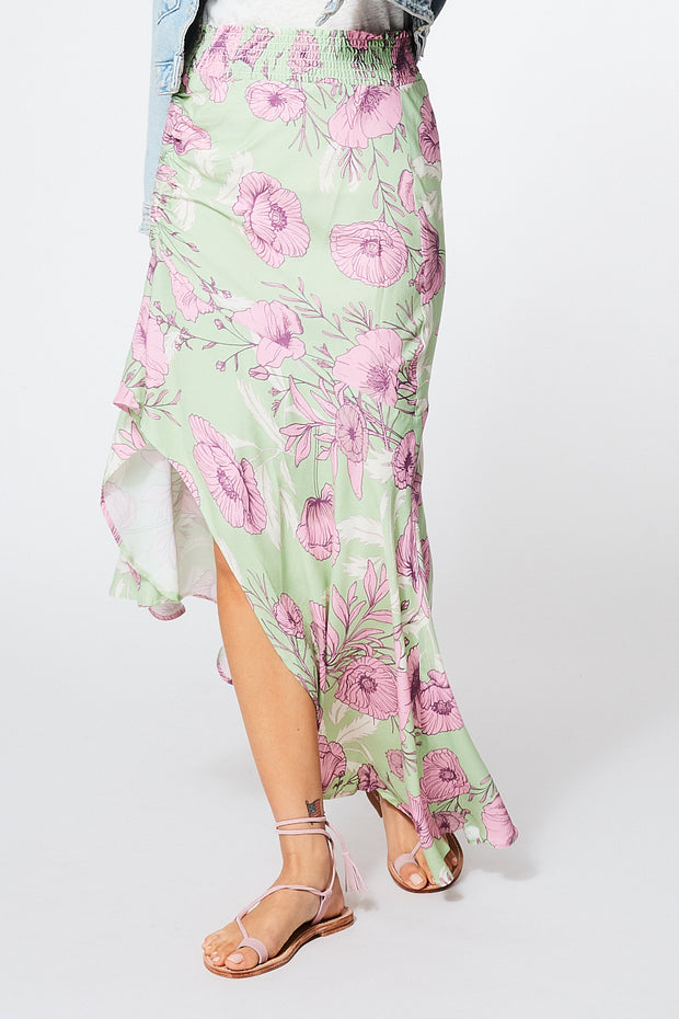 Dreamboat Skirt in Sage Garden Floral Print