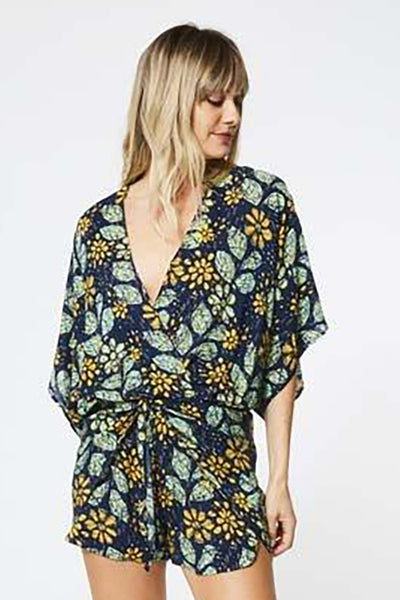 Edyth Romper in India Ink Batik Floral