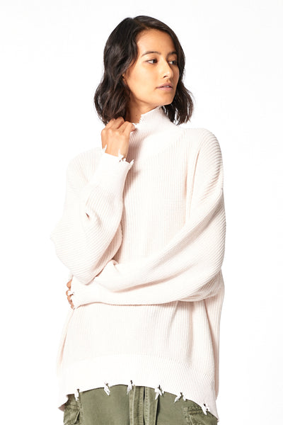 Cameron Oversized Turtle Neck in Pearl