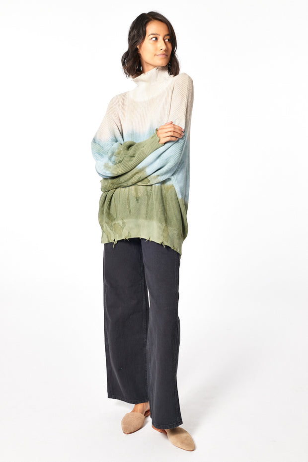 Cameron Oversized Turtle Neck in Taupe Petina Wash