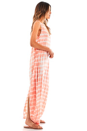 Ali Maxi Dress in Peach Ripple Wash