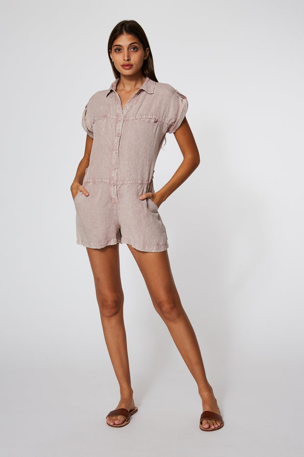 Reed Romper In Dusty Mauve