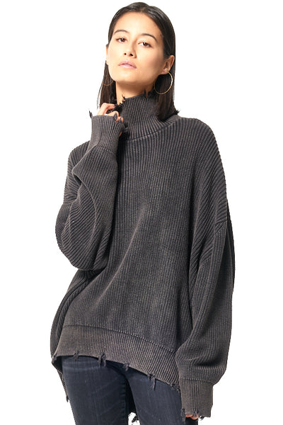 Cameron Oversized Turtle Neck // Black Gold Mineral