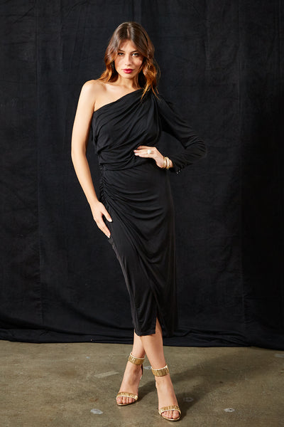 Penelope Dress In Black Solid - Final Sale