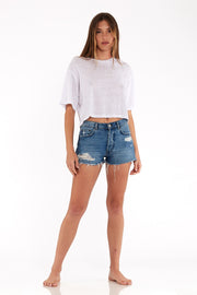 Karla Crop Tee in White
