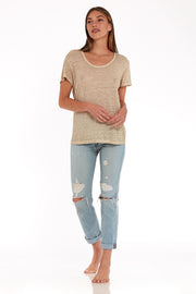 Oversize Tee in Taupe Oil Wash