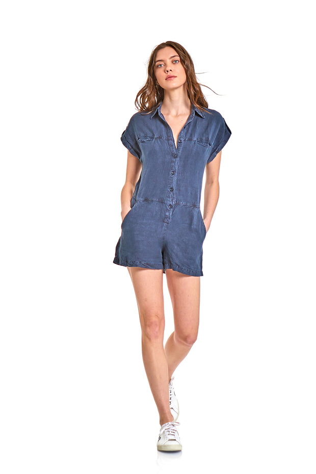 Reed Romper In Midnight