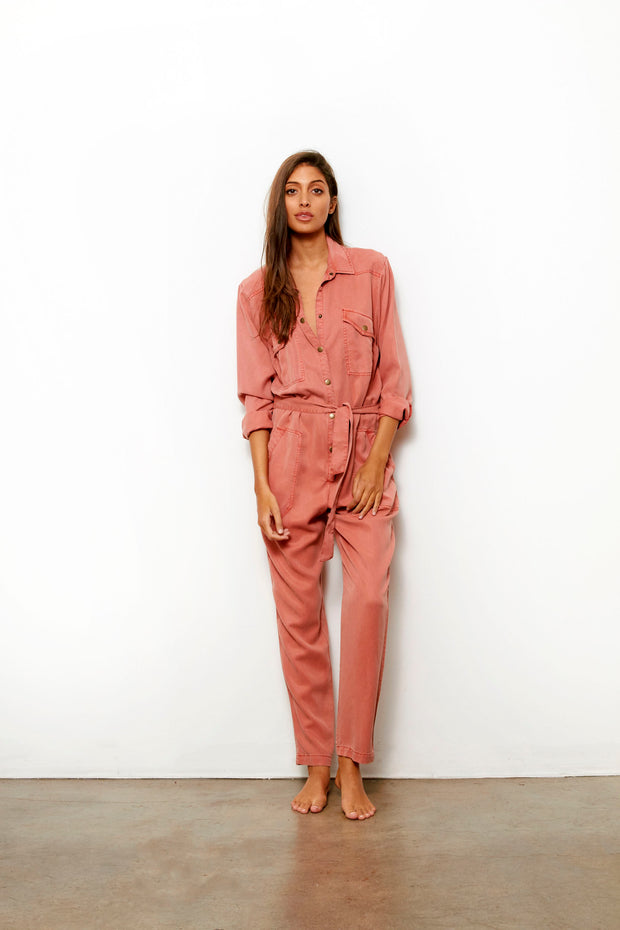 Golly Jumpsuit In Apricot Solid