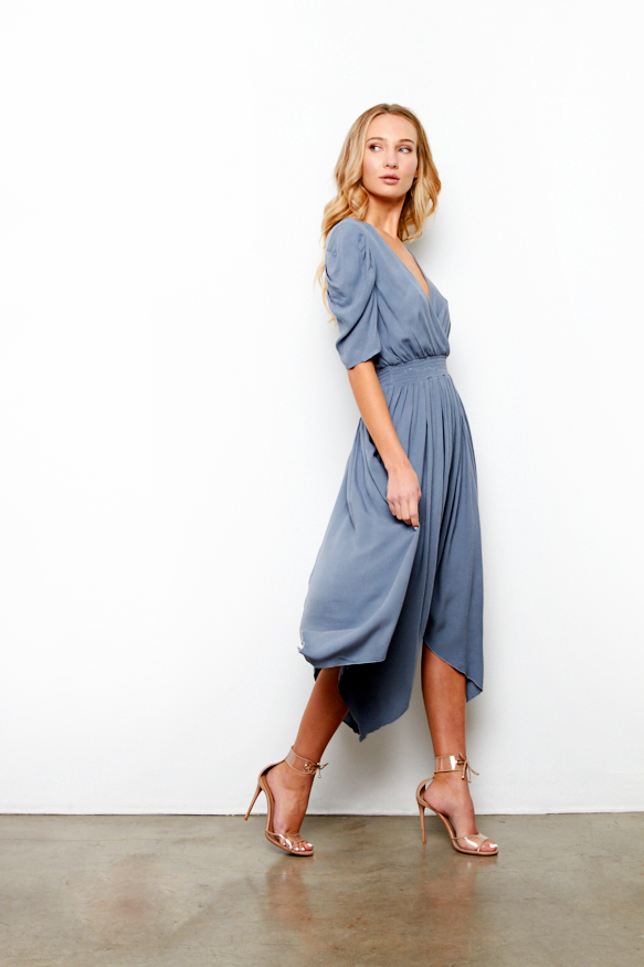 LEONA DRESS IN STEEL BLUE