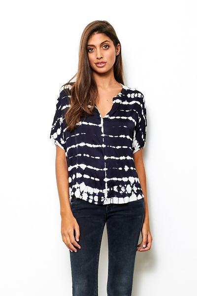 Mari Top In Midnight Zebra Wash