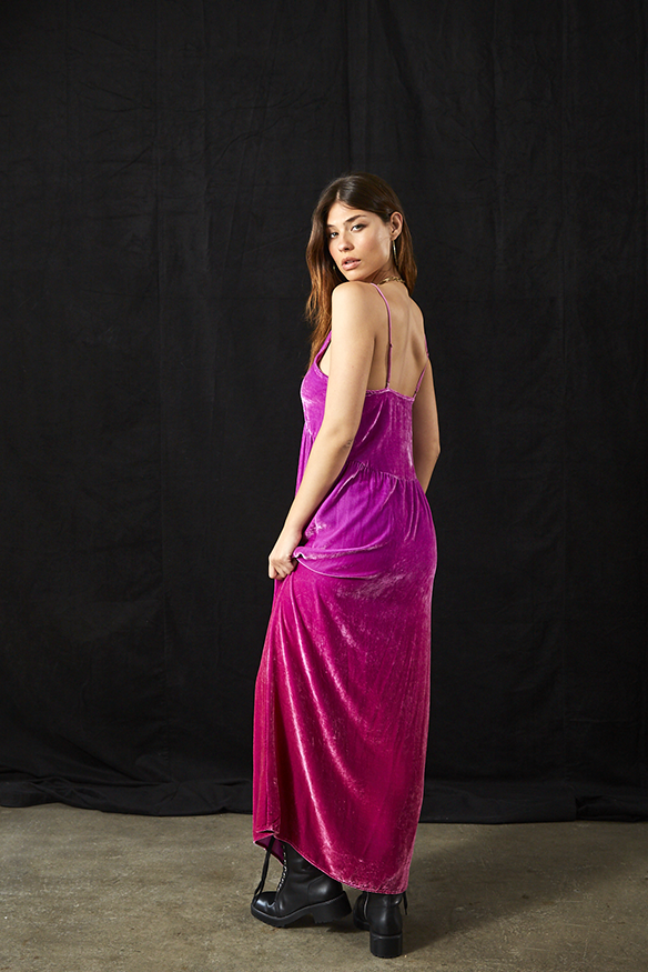 Dezie Dress In Magenta Ombre Wash